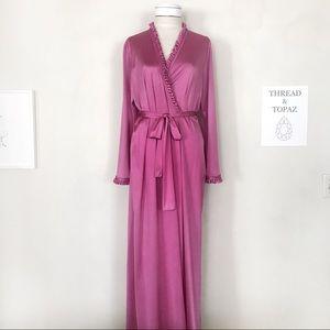 Vintage 60's 70's Vanity Fair Dark Pink Robe